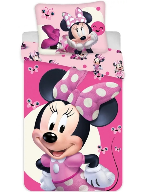 Disney Minnie junior sengetøj pink , 100*135 cm/ 40*60 cm